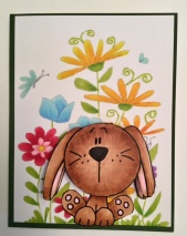 "Easter ""Puppy"" Digi Stamp with background painted with Copic Markers"