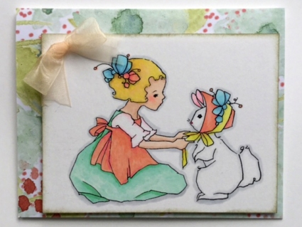"A digi stamp from ""A Day for Daisies"", Copic Markers and designer paper for the backgrorund"