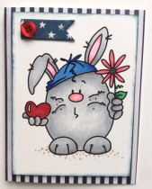 Another boy Easter card, embellished with a BoBunny flag and painted with Copic Markers